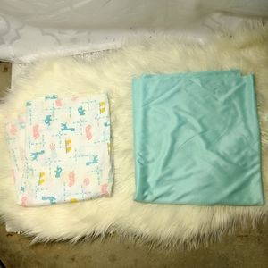 Vtg Set of 2 Polyester Fabric Material Retro Baby